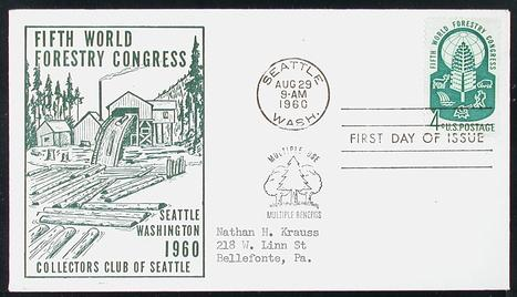 1156 4c World Forestry Congress Mellone #11, Collectors Club of Seattle  cachet in green, addressed. (Item: 1180733)