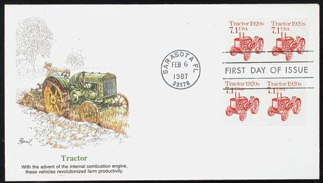 2127 71c Tractor Fleetwood Cachet Pair PNC 1 Item 1232092 See Other Covers By This Maker