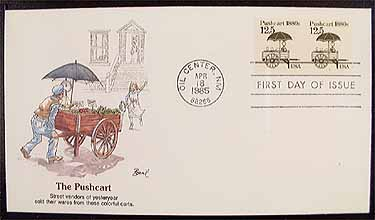 2133 125c Pushcart Fleetwood Cachet Pair PNC 1 Item 1224420 See Other Covers By This Maker